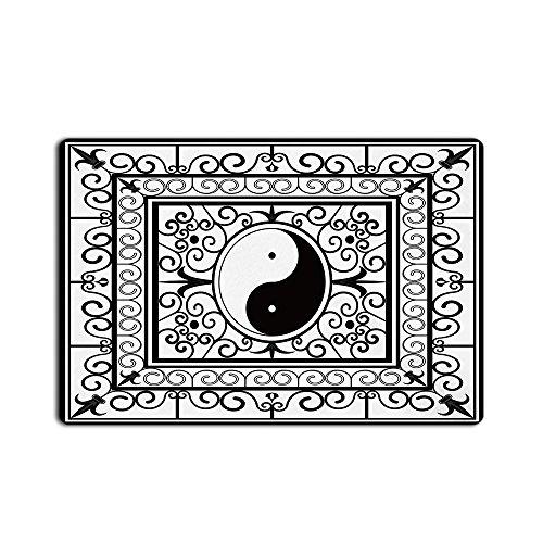 Yin Yang Pattern Active and Passive Power of Cosmos Asian Zen Doormat