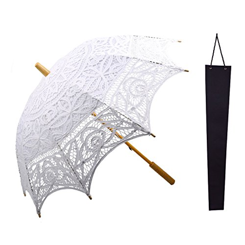 Handel Costume (Lace Sun Parasol,KAKOO Victorian Cotton Embroidery Bridal Umbrella for Wedding Favor Handheld Photo Props Outdoor Anti-UV Accessories with Umbrella Carry Bag)