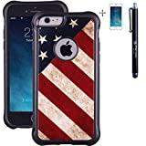 True Color Case Compatible with iPhone 6s Case, Patriotic Vintage American Flag Printed Impact Resistant TPU Protective Anti-Slip Grip Snap-On Soft Rugged Cover