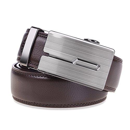 Vbiger Men's Leather Belt Sliding Buckle 35mm Ratchet Belt Black (42