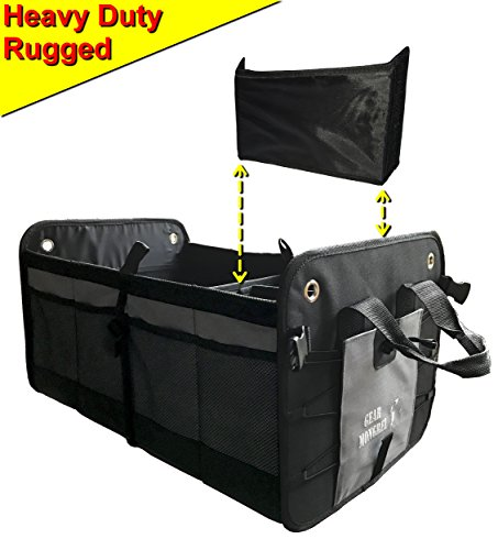 Gear Mongrel Car Trunk Organizer with 14 Pockets - Heavy Duty Collapsible Auto Cargo Storage - Rigid Walls, Bottom, and Velcro Divider - Best Accessory for SUV, Jeep, Truck, Van, Minivan, RV, Boat (Jeep Portable Gear)