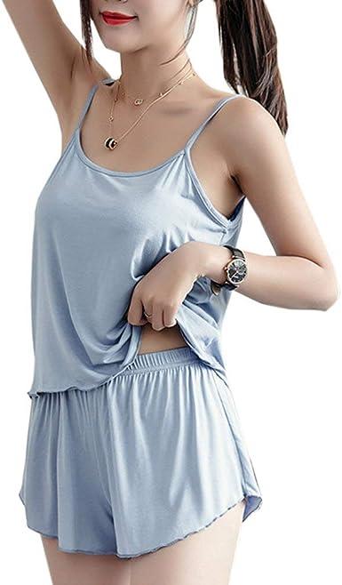 Mujer Pijamas Mujer Verano Color Sólido Pijama Camisola 2 ...