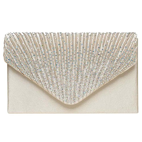 Color Scissor Evening Clutch, Womens Satin Rhinestone Envelope Clutch Purse For Wedding And Party (Clutch Purse)