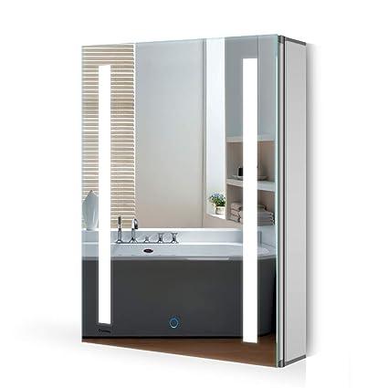 Quavikey LED Beleuchteter Badezimmer Spiegelschrank mit Dimmbarem  Rechteckigem Licht und Demister-Pad Badspiegelschrank mit verstellbaren  Ablagen 500 ...