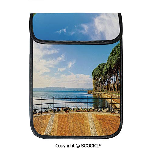 SCOCICI Tablet Sleeve Bag Case,Terrace Promenade Balcony and Pine Trees in Bolsena Lake Italy,Pouch Cover Cases for iPad Pro 12.9 in and Any Tablet