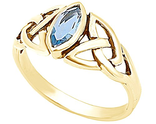 (Jewel Zone US Marquise Cut Simulated Blue Aquamarine Celtic Design Ring in 14k Gold Over Sterling)