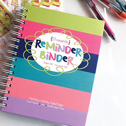 2017-2018 Reminder Binder Planner Calendar Dates now - Dec 2018 Weekly & Monthly Views, Lists, Pockets, 361 Planner Stickers, Appointments & Events