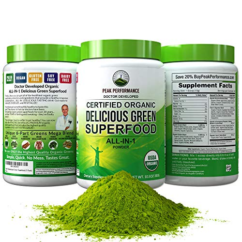 Peak Performance Organic Greens Superfood Powder. Best Tasting Organic Green Juice Super Food with 25+ All Natural Ingredients for Max Energy and Detox. Spirulina, Spinach, Kale, Turmeric, Probiotics