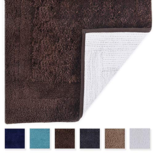 - TOMORO Microfiber Non-Slip Bathroom Rug - Extra Absorbent and Quick Dry, Soft Luxury Hotel Door Carpet Shower Bath Mat Waterproof Non-Skid Backing 24 x 39 inch Brown