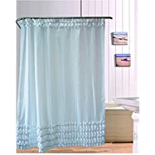 Lopkey 72¡Á72 Inch Solid White Ruffles Shower Curtain Shower Curtain Liner Water Repellent Mildew-Free Polyester Fabric Bathroom Curtain - Beautiful and Practical With 12 No Rust Metal Hooks - Easy to Install - No tool Needed