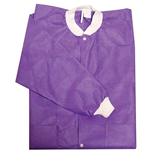 Primo Dental Products PC203PUL Lab Coats, Knee-Length, Large, Purple (Pack of 10) - Mens Knee Length Lab Coat