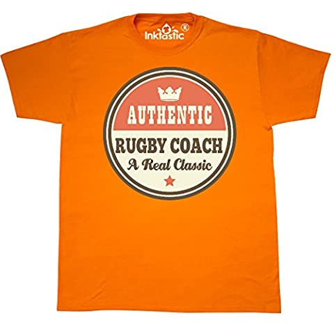 Inktastic - Rugby Coach Vintage Classic T-Shirt Small Safety Orange - 761 Rugby