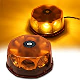 WoneNice Amber COB 8 LED Emergency Hazard Warning Light, 48 Watts Waterproof Truck Car Roof Top LED Strobe Light with Magnetic Base, 12V-24V
