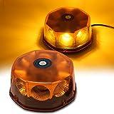 strobes lights for cars - WoneNice Amber COB 8 LED Emergency Hazard Warning Light, 48 Watts Waterproof Truck Car Roof Top LED Strobe Light with Magnetic Base, 12V-24V