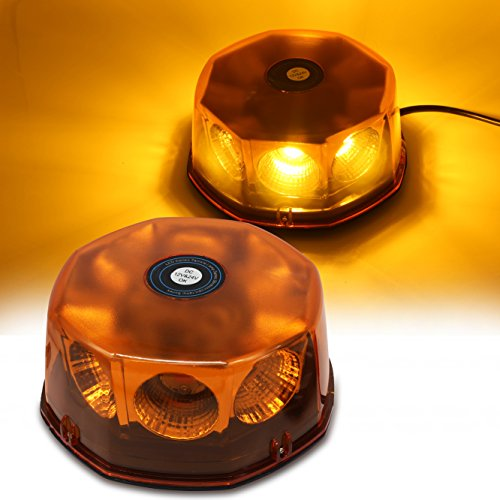 WoneNice Amber COB 8 LED Emergency Hazard Warning Light, 48 Watts Waterproof Truck Car Roof Top LED Strobe Light with Magnetic Base, 12V-24V