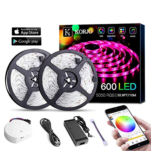 LED Strip Light Full Kit 10m, RGB SMD 5050 LED Rope Lighting Wireless APP Controlled, with 9key Remote Control and Power Supply, LED Strips Lights Waterproof for Home Kitchen Christmas ()
