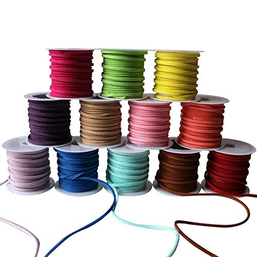 (Curtzy 12 pack Suede Cord - 3m Roll Lather Lace Beading Thread with Assorted Colours - Suede Lace with 3mm Thickness - Beading Thread for Embroidery work and Jewellery Making - Cord String Ribbon)