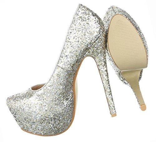 Glitter Damen Stiletto Pumps Heels High Silber Schwarz Schuhe Plateau YErEq