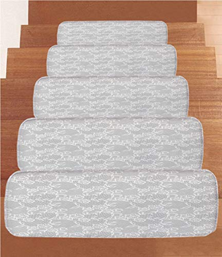 (SoSung Grey Decor Coral Fleece Stair Treads,Stair Tread Mats,Arabic Artwork Inspired Oriental Turkish Lace Pattern with Traditional Impression Image,(Set of 5) 8.6