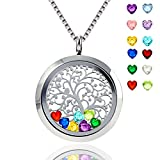 Floating Locket Pendant Necklace Heart Crystal Family Tree of Life Necklace All Birthstone Charms Include