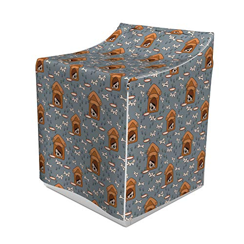 Lunarable Dog Bone Washer Cover, A Puppy Sleeping in a Doghouse Pattern with Paw Prints and Food Bowl Illustration, Suitable for Dryer and Washing Machine, 29