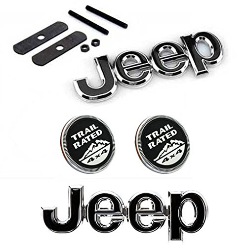Back For Cherokee Patriot Wrangler Compass 4pcs Set AM16 Black Car Styling Accessories Chromed Emblem Badge Decal Sticker JEEP 4 x 4 TRIAL RATED Grille