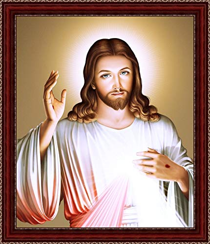 Sharon Awesome Antique Framed Of The Most Blessed God Secret Heart Jesus Christ Rome Origin Wall Hanging Painting Amazon In Home Kitchen