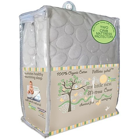 My Little Nest Organic Cotton Quilted Pebbletex Waterproof Crib Mattress Pad (2) by Dreamtex