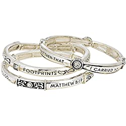 Lola Bella Gifts 3 Piece Layered Footprints in The Sand Prayer Bracelet with Gift Box