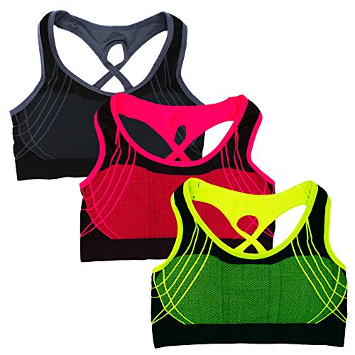 Women's Sports Bras Seamless Racerback Wireless Padded For Workout Yoga (Pack B, (High Impact Padding)