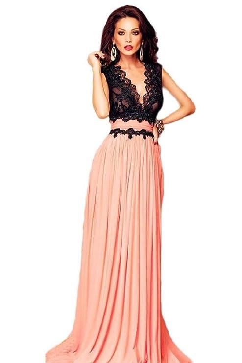 san francisco 4eef9 d3e82 Elegante vestito da sera lungo con pizzo, colore: nero e ...