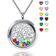 Floating Living Memory Locket Pendant Necklace Family Tree of Life Necklace All Birthstone Charms...