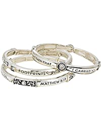 3 Piece Layered Footprints In The Sand Prayer Bracelet with Gift Box