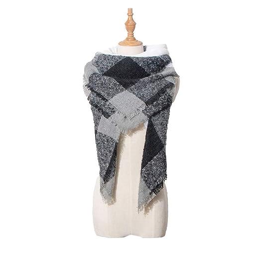 05cc59c25 Women's Fashion Silk Scarf, Shawl Big Grid Warm Lattice Cashmere Fall Winter  Scarf Classic Tassel