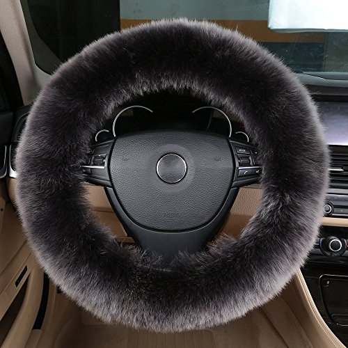 Natural Wool Long (OGLAND Natural Fur Long Wool Fluffy Sheepskin car Steering Wheel Cover, Universal Steering Cover, Anti-Slip,Comforting and Luxurious, Soft Texture (Grey))