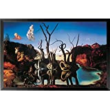 buyartforless IF HG AP596 31x19 1.25 Black Framed Swans Reflecting Elephants by Salvador Dali 31X19 Museum Art Print Poster