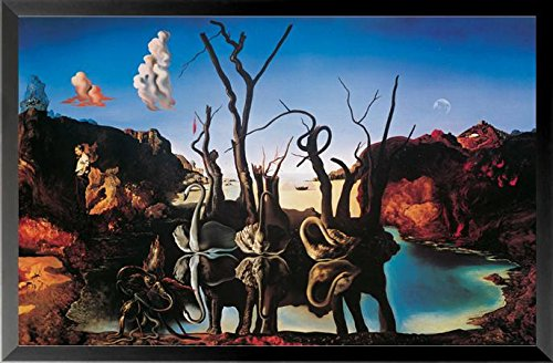 Reflecting Swans Elephants (buyartforless IF HG AP596 31x19 1.25 Black Framed Swans Reflecting Elephants by Salvador Dali 31X19 Museum Art Print Poster)
