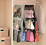 Geboor Hanging Handbag Organizer Dust-Proof Storage Holder Bag Wardrobe Closet for Purse Clutch with 6 Larger Pockets Black