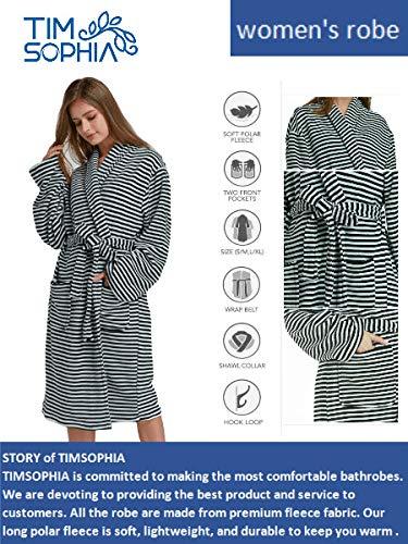 763fdb7144 TIMSOPHIA Striped Microfiber Bathrobes for Women