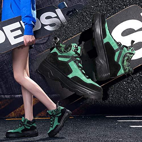 Informales Mujer Yg Deportivos Gruesos Salvaje Zapatos Piso amp; La Marea Versión Cuero Moda Miss Verde De Coreana xqCYTXwp