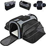 Smiling Paws Pets 4 Way Expandable Soft Sided Airline Approved Pet Carrier for Cats and Dogs | Folding for Easy Transport | for Air or Car Travel, Meets Most Under Seat Requirements | Medium Size