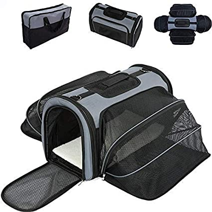 e7cef47d879 Smiling Paws Pets 4 Way Expandable Soft Sided Airline Approved Pet Carrier  for Cats and Dogs