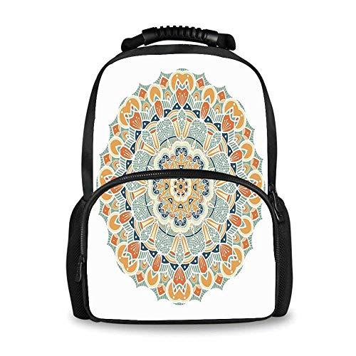 Mandala Adorable School Bag,Ethnic Indian Traditional Pattern Cosmos Symbol Geometric Ornamental Motif for Boys,12