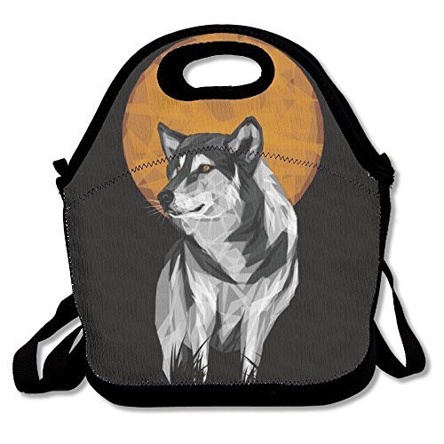 Wolf With Full Moon Insulated Lunch Bag Picnic Lunch Tote For Work, Picnic, (Pop Art Man Costume)