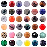 Natural Stone Beads Mixed 100pcs 8mm Round Loose Gemstone Amethyst Black Obsidian Lava Stone Amazonlite Assorted Color for Bracelet Necklace Jewelry Making (Natural Stone Beads Mix)