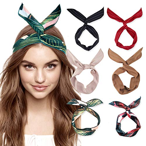 DRESHOW 6 Pack Bow Headband for Women Knotted Hair Band Facial Cloth Headbands