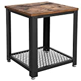 VASAGLE Vintage End, 2-Tier Side Table with Storage Shelf, Sturdy and Easy Assembly, Wood Look Accent Furniture with Metal Frame ULET41X