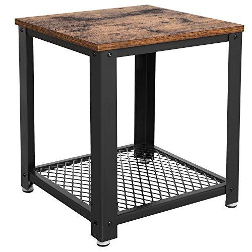 Amazon Com Vasagle Industrial End 2 Tier Side Table With Storage
