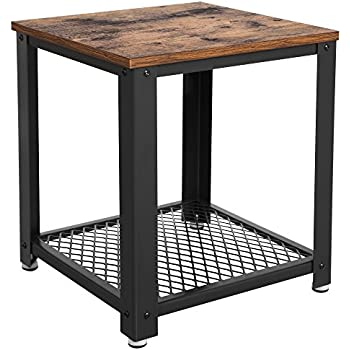 SONGMICS Vintage End Table, 2 Tier Side Table With Storage Shelf, Sturdy And