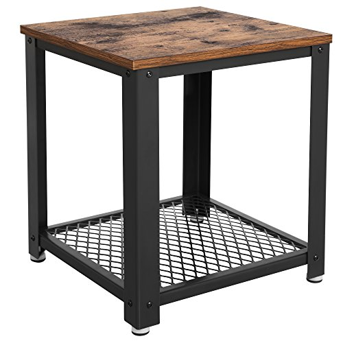 SONGMICS 2-tiered End Table Square-Frame Side Table with Metal Grate Shelf Vintage - 2 Book Side